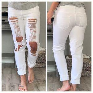 Forever 21 Denim Distressed White Jeans